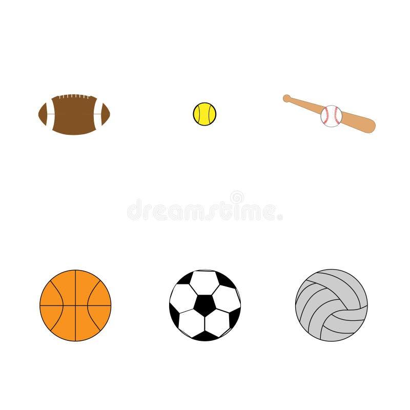 Sistema plano de las bolas coloridas para los juegos del deporte ilustración del vector