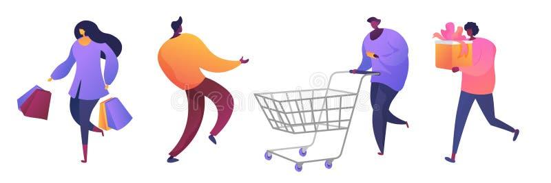 Sistema plano de los ejemplos del vector de los clientes de la tienda stock de ilustración
