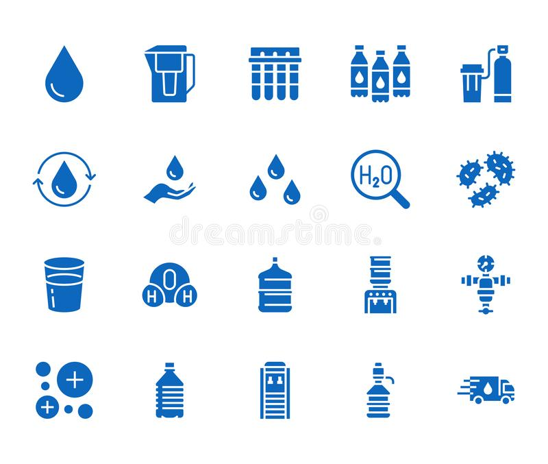 Sistema plano de los iconos del glyph del descenso del agua La aguamarina filtra, suavizador, ionización, desinfección, ejemplos  libre illustration