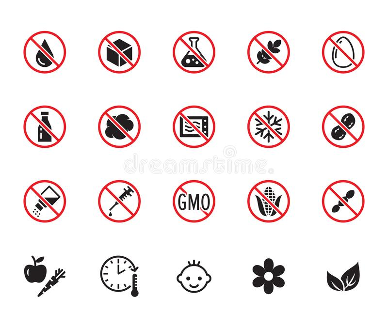 Sistema plano de los iconos del glyph de la comida natural Azúcar, gluten libremente, ningunas grasas del transporte, sal, huevo, stock de ilustración