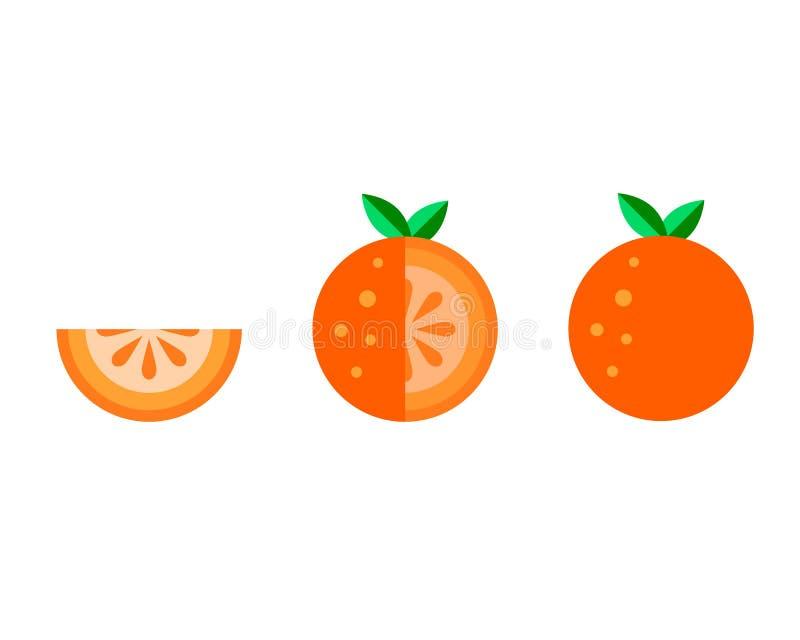 Sistema plano de los iconos de la fruta anaranjada del vector aislado en el fondo blanco Comida del verano de la historieta linda stock de ilustración