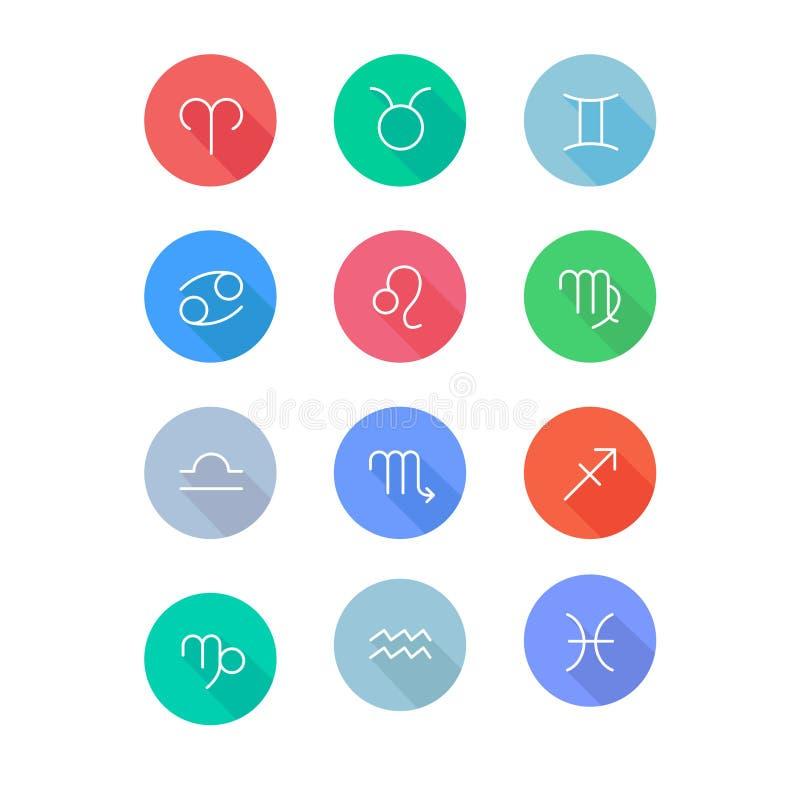 Sistema plano de los iconos de los símbolos del horóscopo de las muestras del zodiaco ilustración del vector