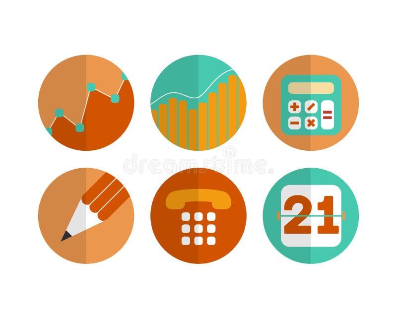 Sistema plano de los iconos y de los símbolos modernos - EPS 10 del vector stock de ilustración