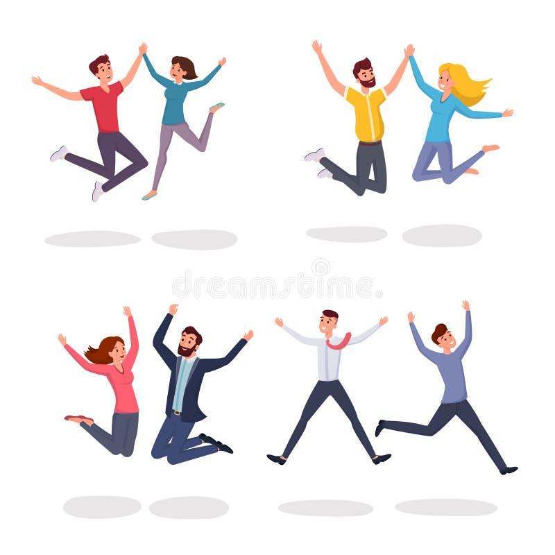 Sistema plano de salto de los ejemplos del vector de la gente Estudiantes sonrientes, colegas, pares, amigos que saltan en el ent libre illustration