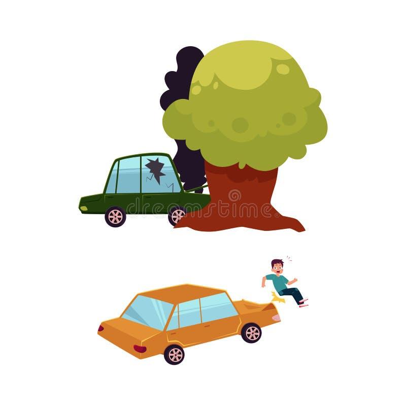 Sistema plano del accidente de tráfico de la historieta del vector aislado libre illustration