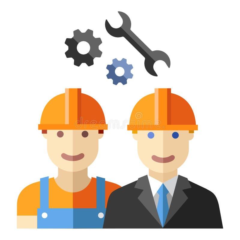Sistema plano del avatar del trabajador de construcción ilustración del vector