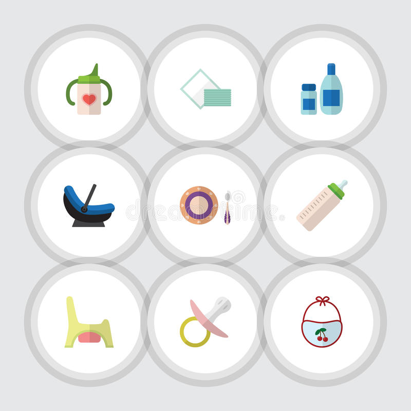 Sistema plano del bebé del icono de crema con la loción, el alimentador, la servilleta y otros objetos del vector También incluye stock de ilustración