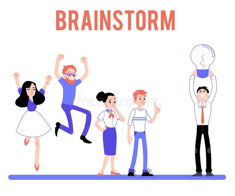 Sistema plano del carácter hembra-varón del braindstorm del vector ilustración del vector