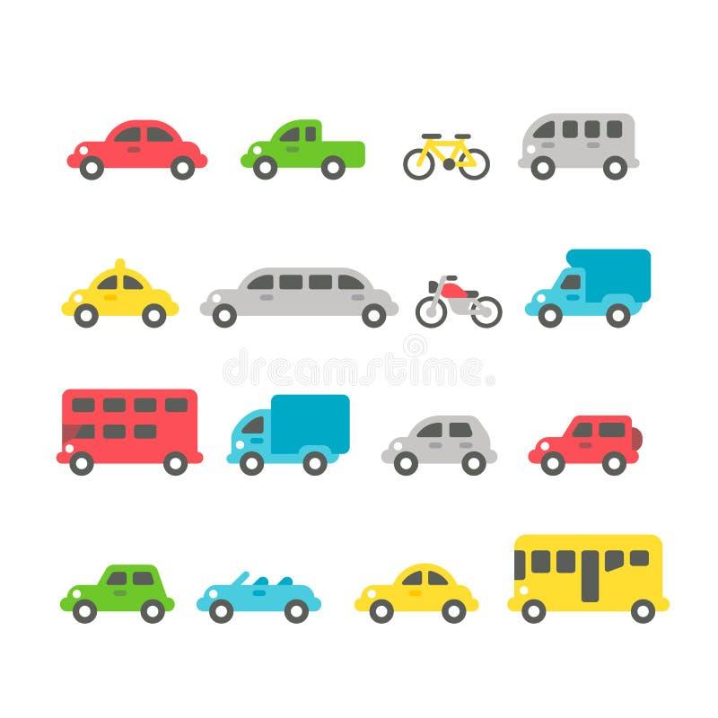 Sistema plano del coche del diseño stock de ilustración
