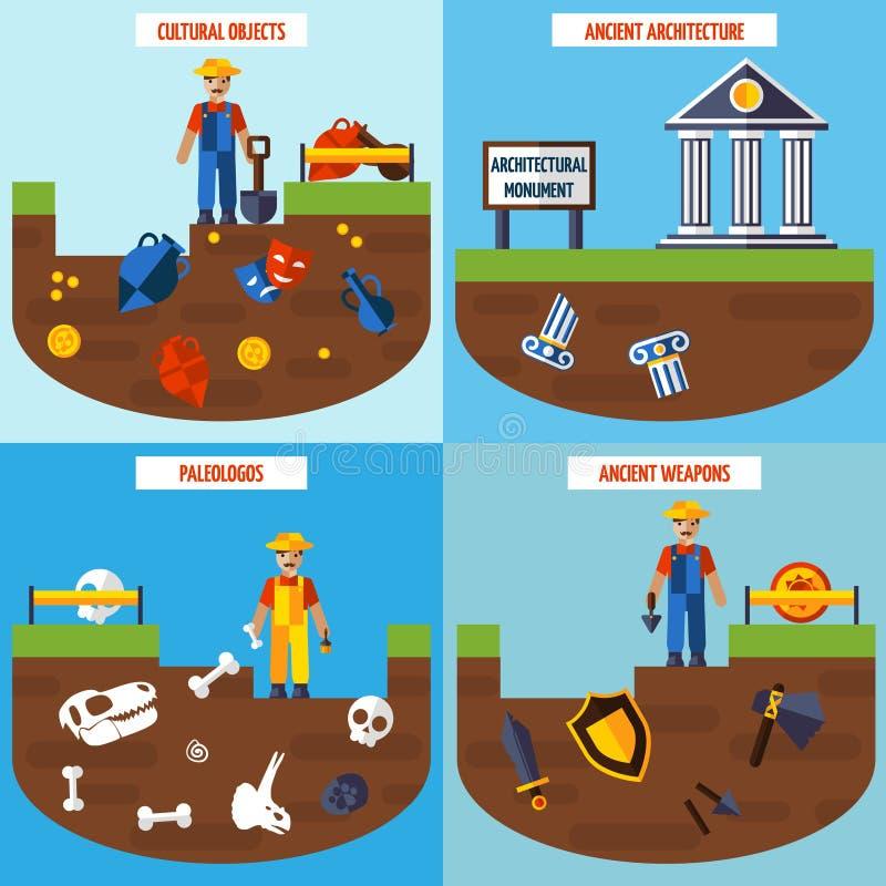 Sistema plano del concepto de diseño de la arqueología del color ilustración del vector