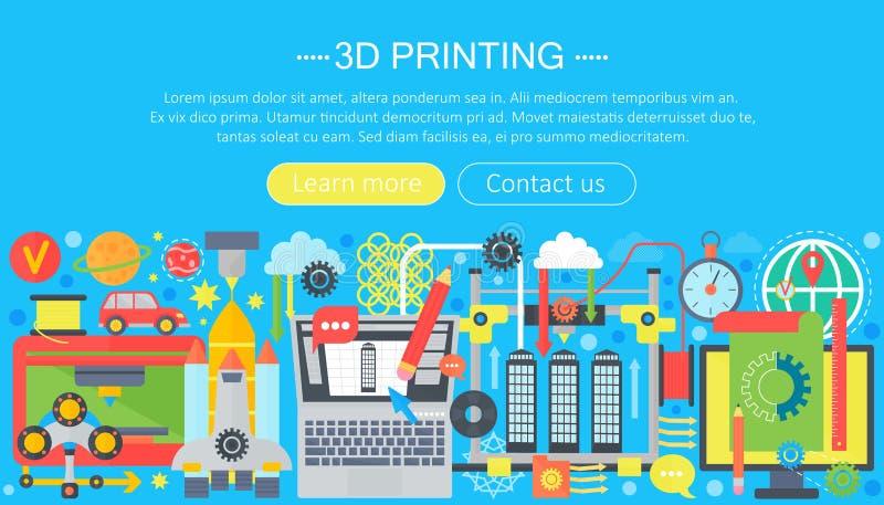 sistema plano del concepto de la tecnología de la impresora 3d 3d jefe del web que modela, de la impresión y de la exploración libre illustration