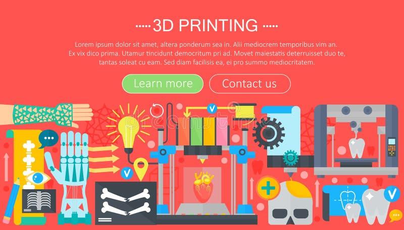 Sistema plano del concepto de la tecnología de la impresora de los órganos humanos 3d medicina de la impresión 3d Portada del web stock de ilustración