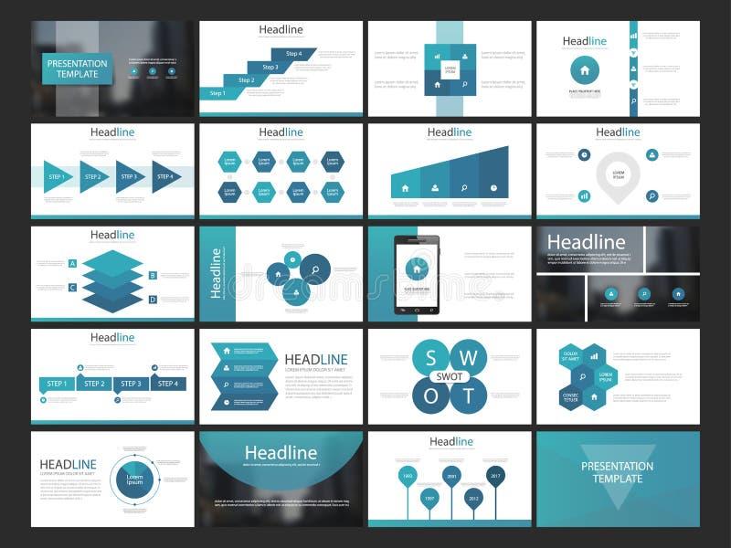 Sistema plano del diseño de Infographic de la presentación de los elementos azules de las plantillas libre illustration