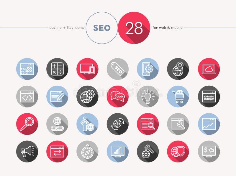Sistema plano del estilo del esquema de los iconos del web de Seo stock de ilustración