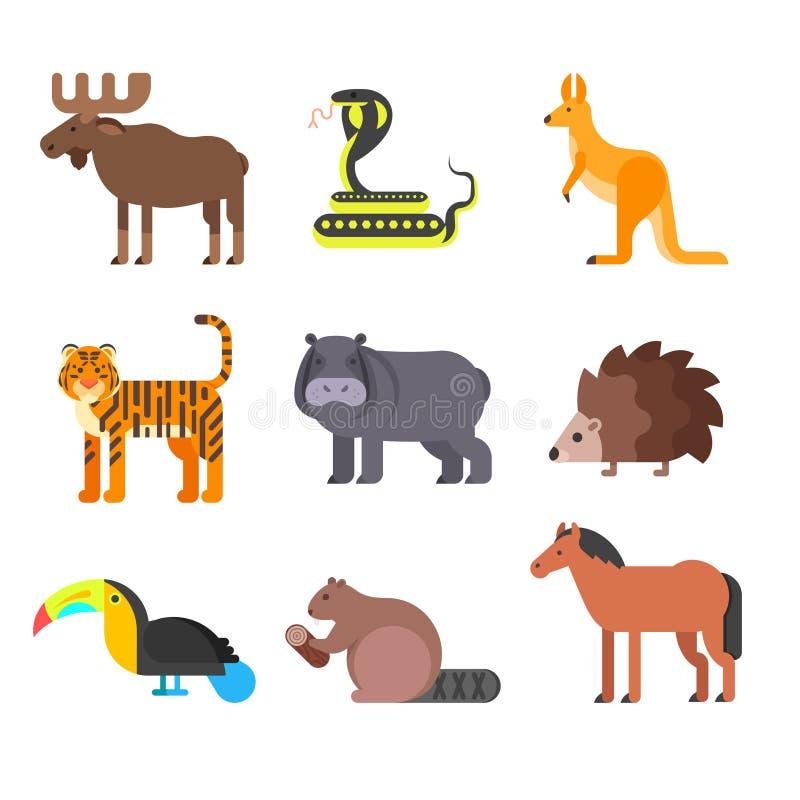 Sistema plano del estilo del vector de animales Erizo, tigre, serpiente stock de ilustración
