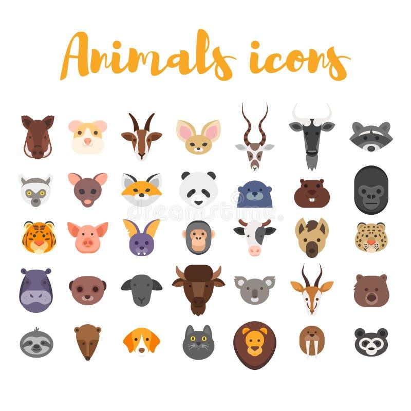 Sistema plano del estilo del vector de los iconos animales del web libre illustration