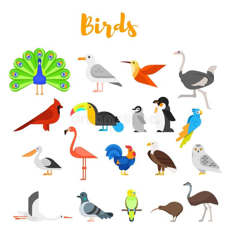 Sistema plano del estilo del vector de pájaros libre illustration