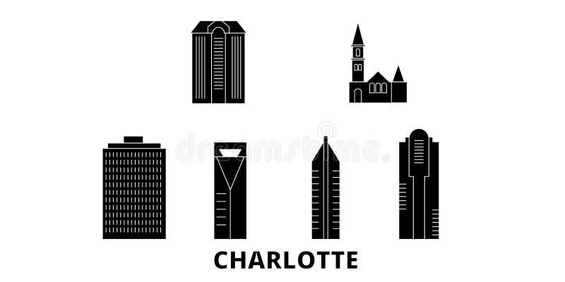 Sistema plano del horizonte del viaje de Estados Unidos, Charlotte Ejemplo del vector de la ciudad del negro de Estados Unidos, C ilustración del vector