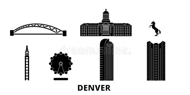 Sistema plano del horizonte del viaje de Estados Unidos, Denver Ejemplo del vector de la ciudad del negro de Estados Unidos, Denv ilustración del vector