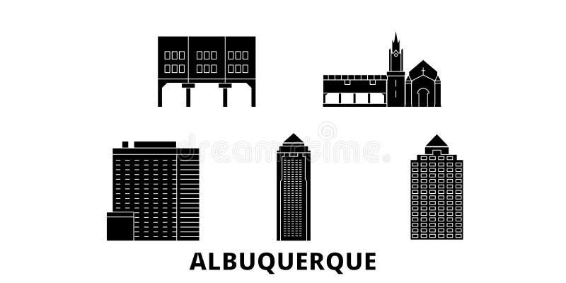 Sistema plano del horizonte del viaje de la ciudad de Estados Unidos, Albuquerque Ejemplo del vector de la ciudad del negro de la stock de ilustración