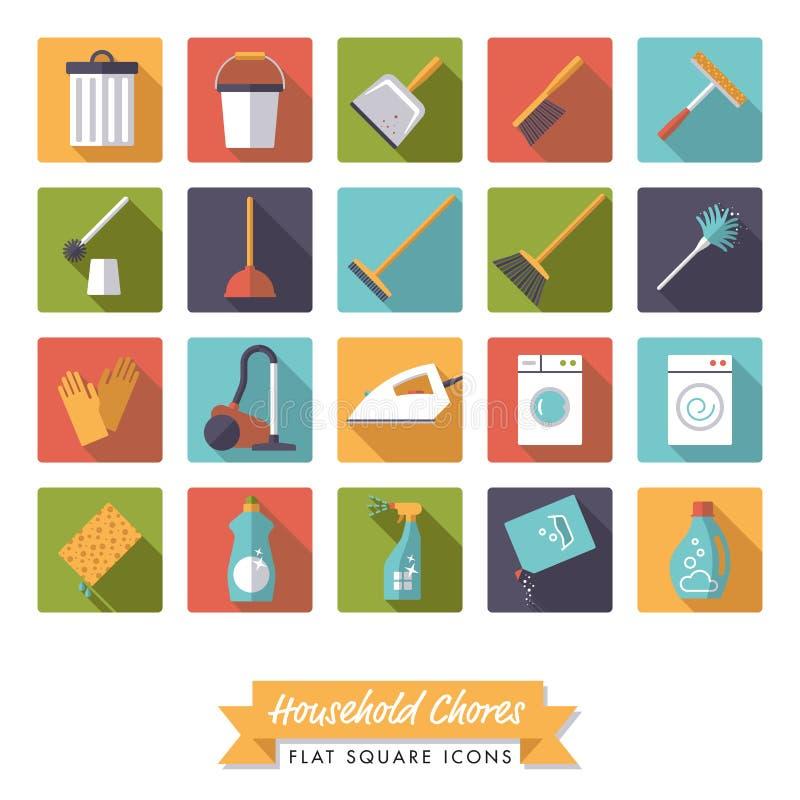 Sistema plano del icono del cuadrado del diseño de las tareas de hogar libre illustration