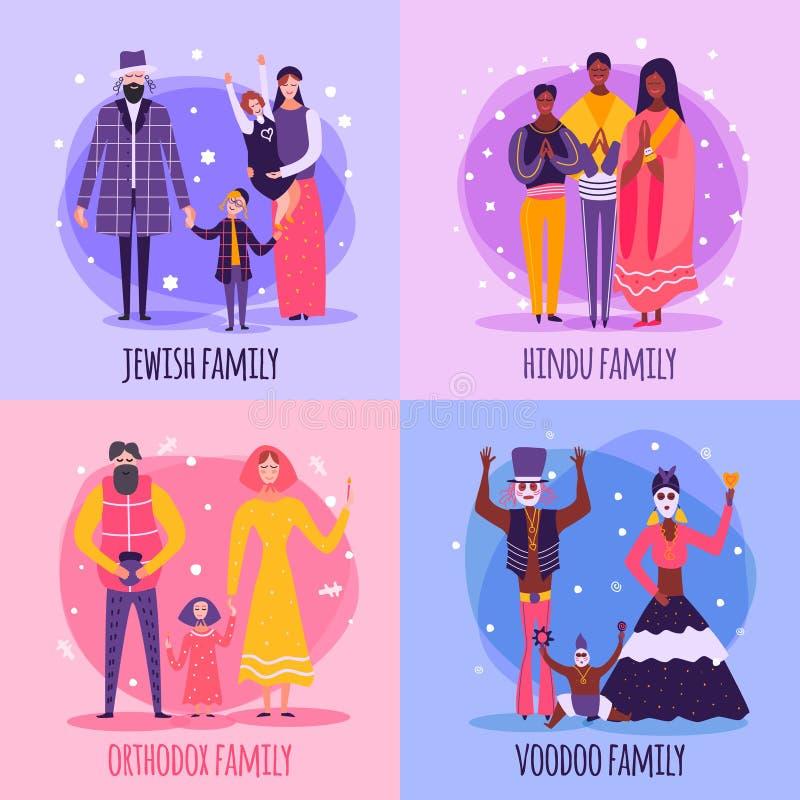 Sistema plano del icono de diversa familia religiosa de la gente stock de ilustración