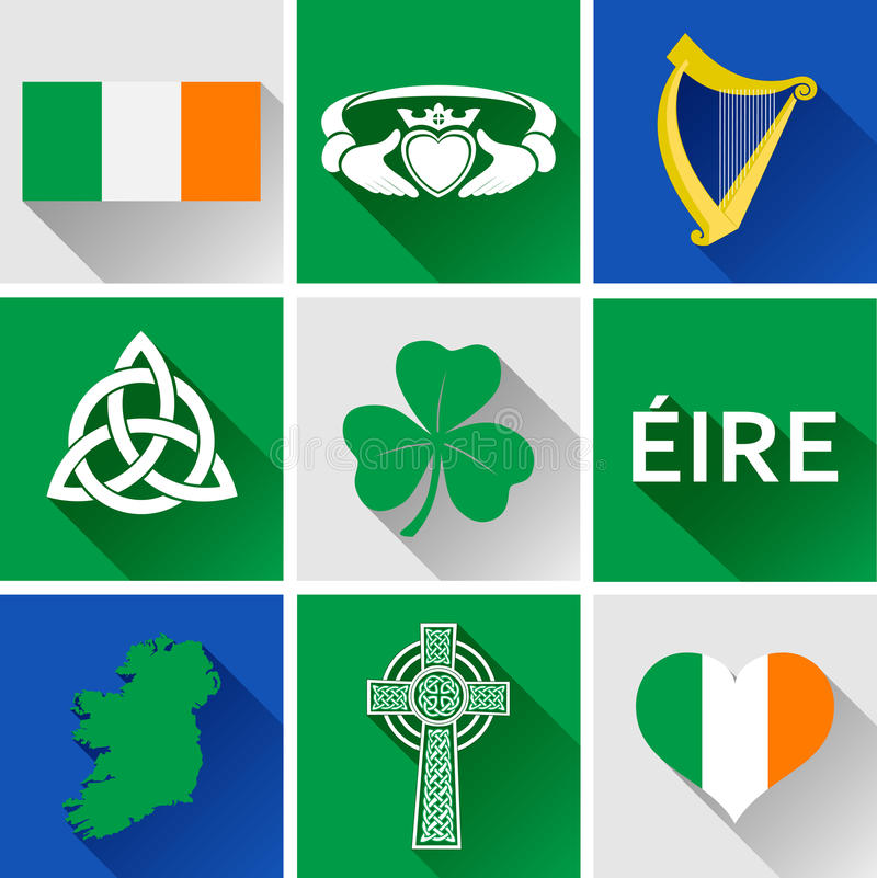 Sistema plano del icono de Irlanda ilustración del vector