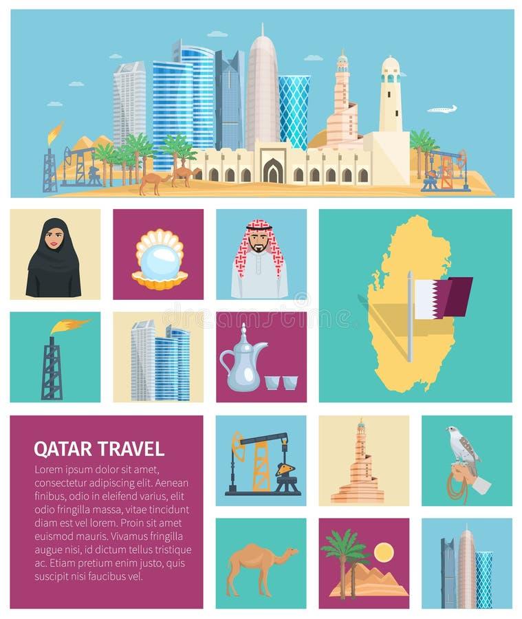 Sistema plano del icono de la cultura de Qatar ilustración del vector
