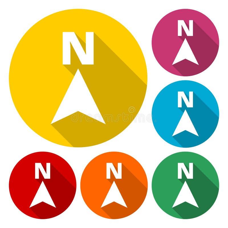 Sistema plano del icono de la flecha de la dirección, compás del norte de la dirección libre illustration