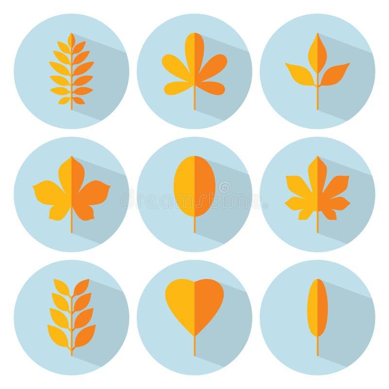 Sistema plano del icono de la hoja del otoño Colección del vector Hojas del árbol Eco o libre illustration