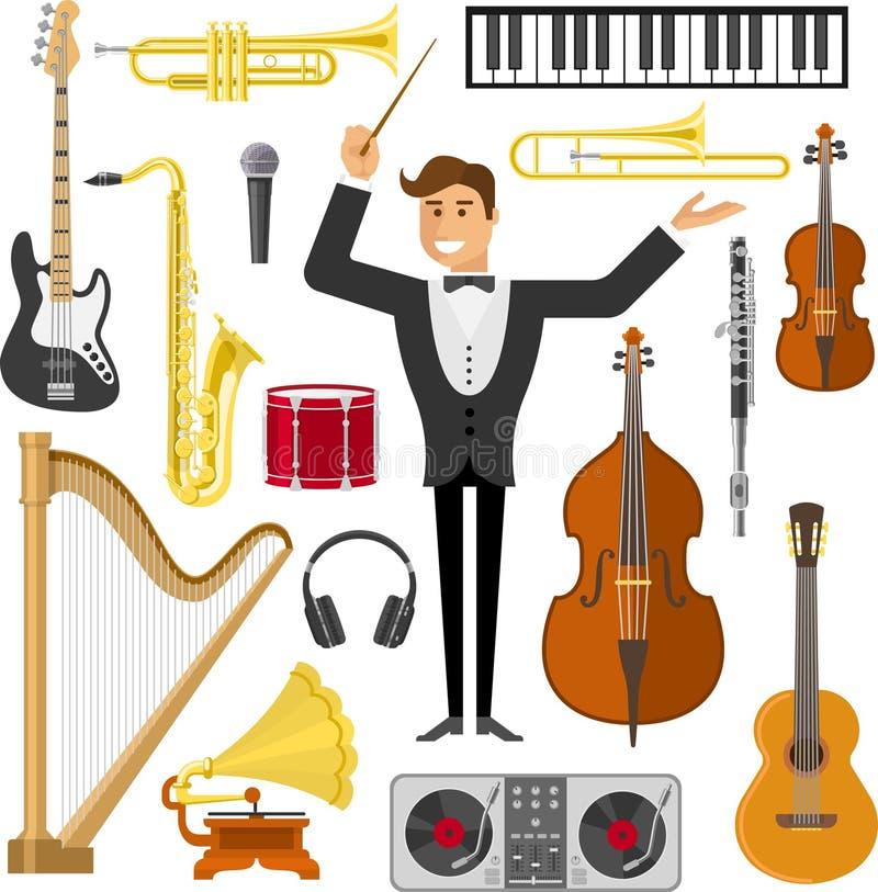 Sistema plano del icono de la música libre illustration