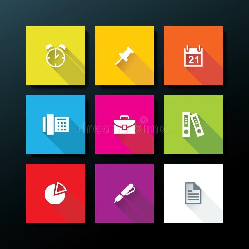 Sistema plano del icono de la oficina del vector libre illustration