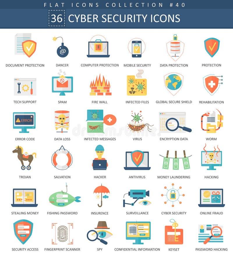 Sistema plano del icono de la seguridad cibernética del vector Diseño del estilo elegante stock de ilustración