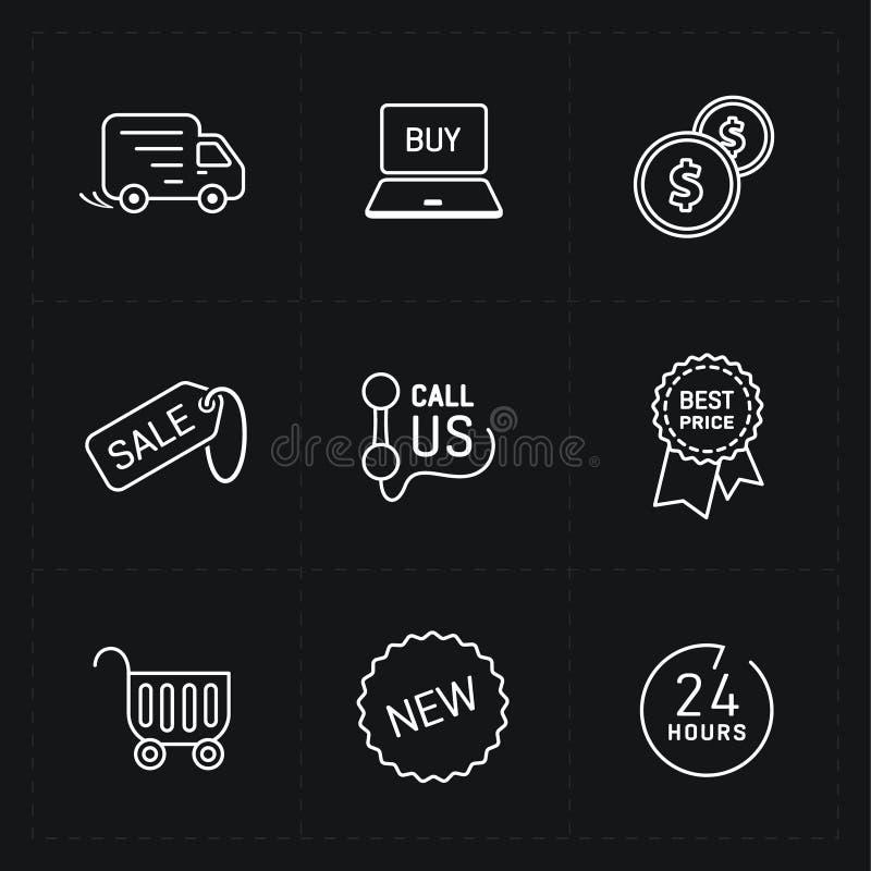 Sistema plano del icono de la tienda del contorno stock de ilustración