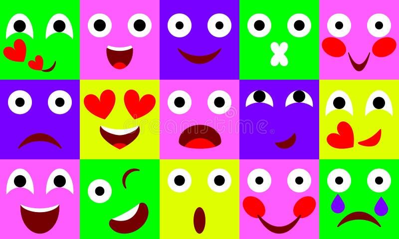 Sistema plano del icono de las emociones del vector libre illustration