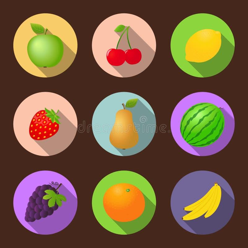 Sistema plano del icono de las frutas del vector ilustración del vector