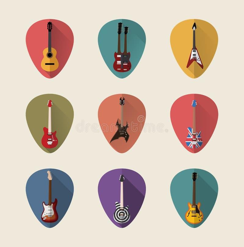 Sistema plano del icono de las guitarras fotografía de archivo