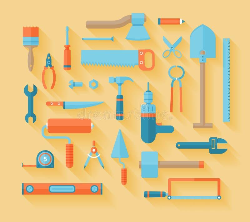 Sistema plano del icono de las herramientas de funcionamiento ilustración del vector