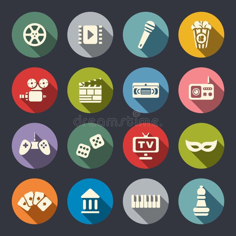 Sistema plano del icono de las multimedias ilustración del vector