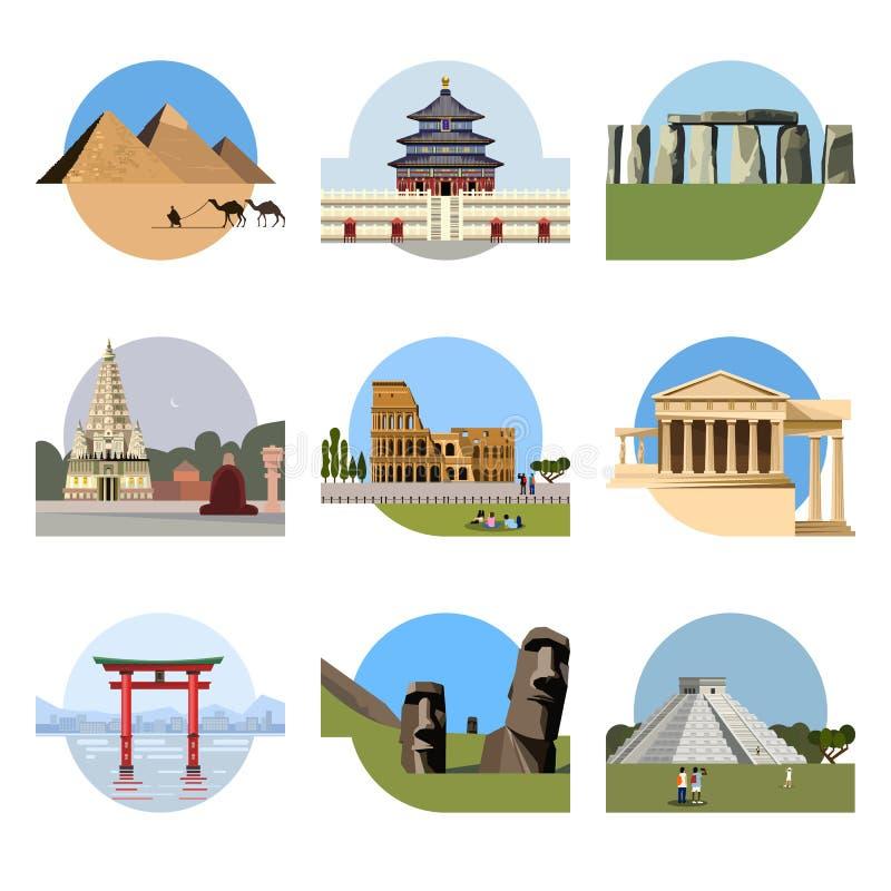 Sistema plano del icono de las señales del mundo stock de ilustración