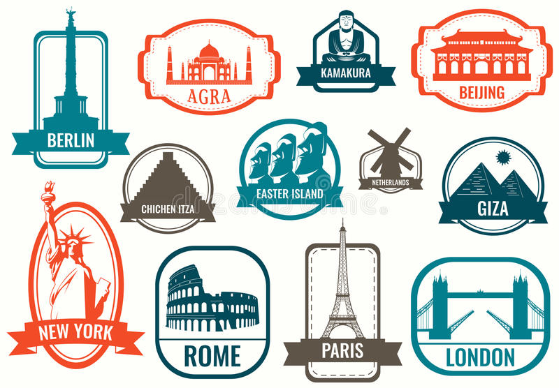 Sistema plano del icono de las señales del mundo Viaje y turismo Vector stock de ilustración