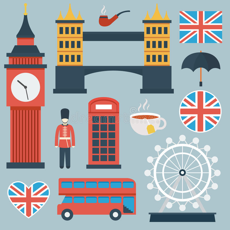 Sistema plano del icono de Londres libre illustration