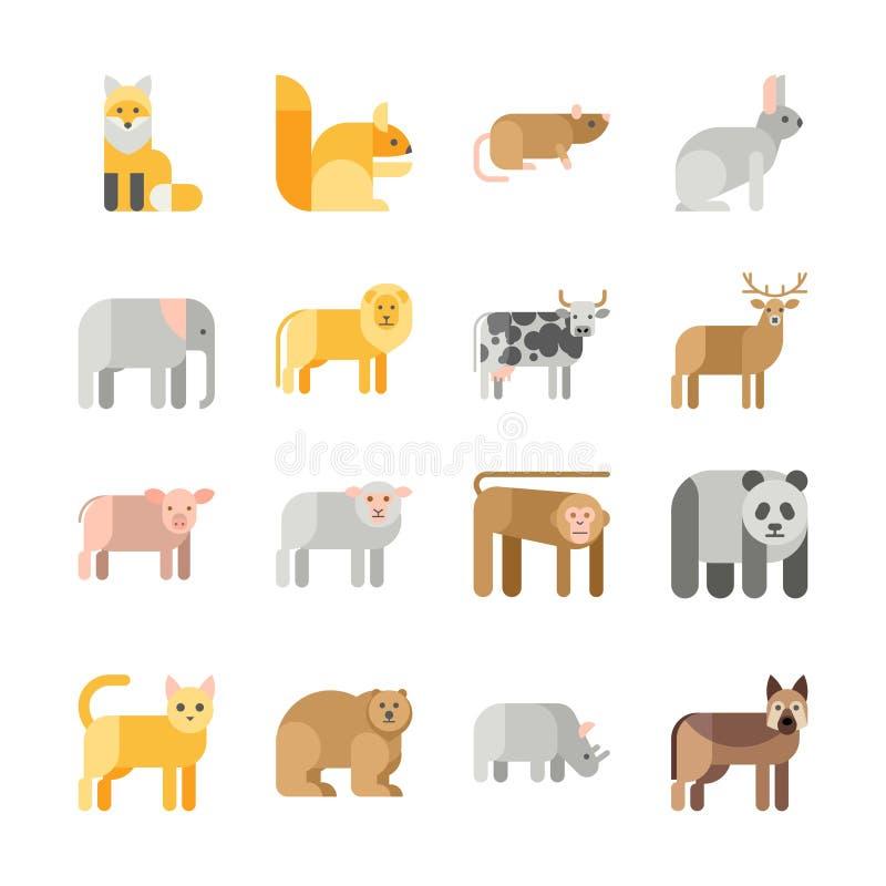 Sistema plano del icono de los animales del vector del diseño libre illustration