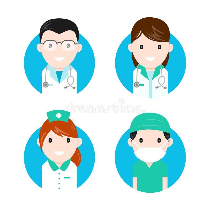 Sistema plano del icono de los caracteres de los personales médicos ilustración del vector