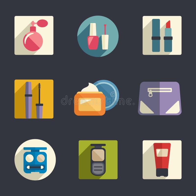 Sistema plano del icono de los cosméticos. Ejemplo del vector stock de ilustración