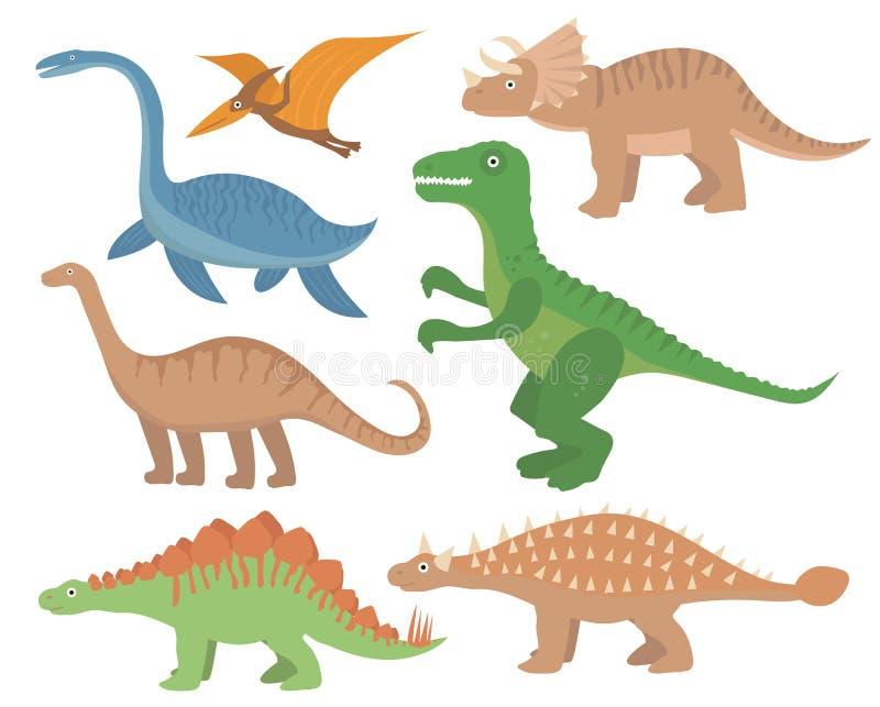 Sistema plano del icono de los dinosaurios, estilo de la historieta Colección de objetos con el pterosaur, stegosaurus, tricerato stock de ilustración