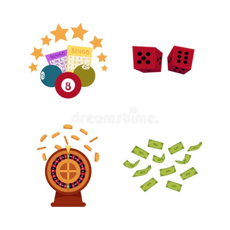 Sistema plano del icono de los símbolos del casino del vector libre illustration