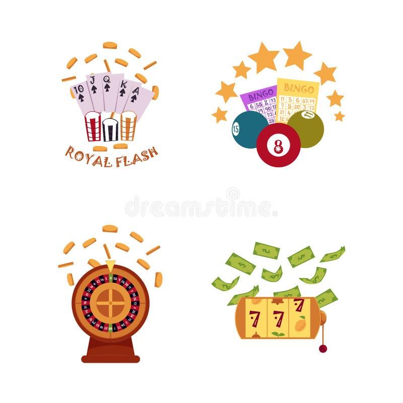 Sistema plano del icono de los símbolos del casino del vector stock de ilustración