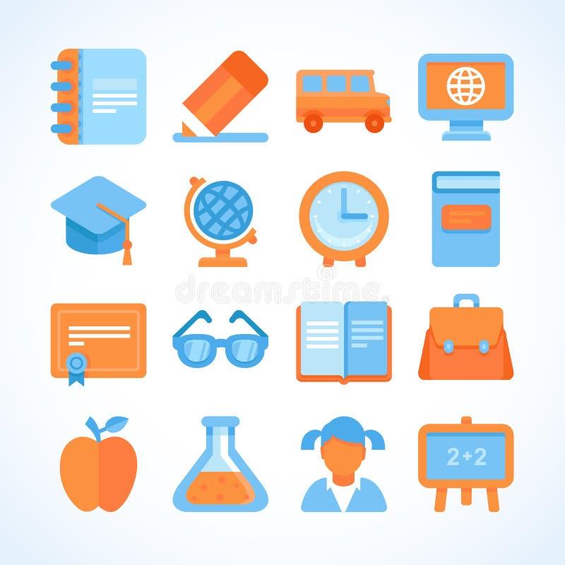 Sistema plano del icono de símbolos de la educación stock de ilustración