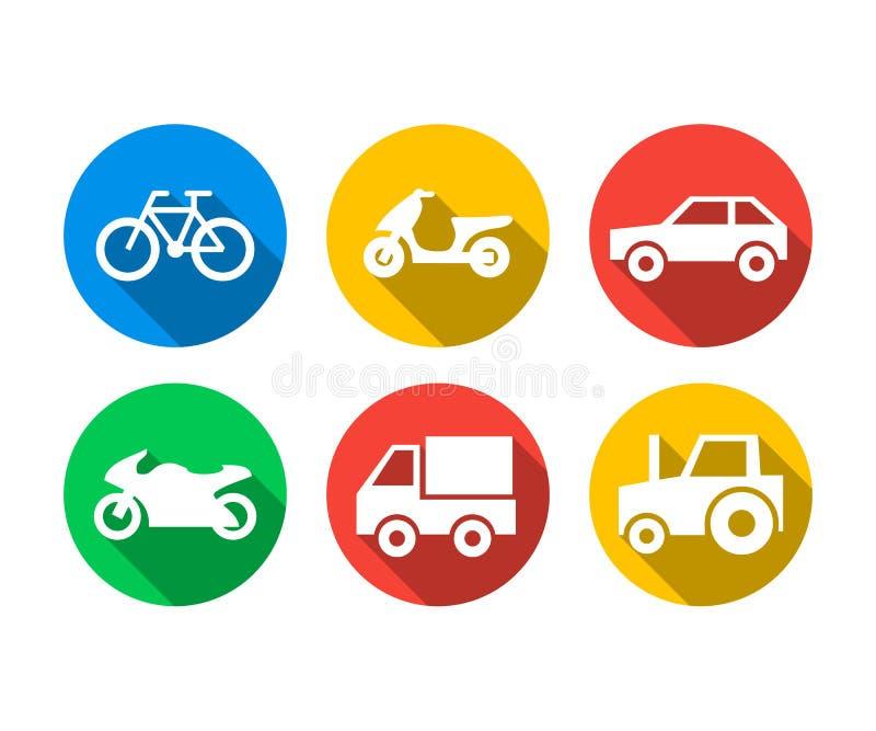Sistema plano del icono de vehículos de transporte stock de ilustración